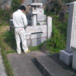 糟屋郡須恵町にある地域墓地にてお墓の解体確認 / お墓の改修工事