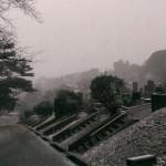 雪の中、お墓の現地確認へ。福岡市南区の霊園にて