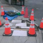 参道貼り石の修繕工事です。(福岡市博多区にて)