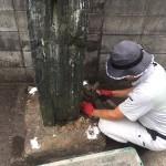 糟屋郡志免町で、町の歴史が書かれている古くからの記念碑を移設しました。クレーンを使用しての慎重な作業