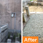 北九州市小倉北区のお寺さまにて、お墓じまい解体処分を行いました。狭い通路、手作業での解体作業